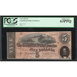 1864 $5 The Confederate States of America Note T-69 PCGS Choice New 63PPQ