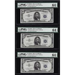 Lot of (3) 1953A $5 Silver Certificate Notes PMG 64EPQ