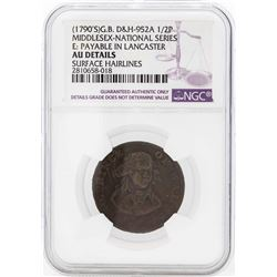 1790's Great Britain 1/2 Penny Prince of Whales Middlesex Coin NGC AU Details
