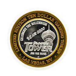 .999 Silver Stratosphere Tower $10 Casino Gaming Token Limited Edition