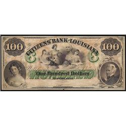 1800's $100 The Citizens Bank of Louisiana Obsolete Bank Note