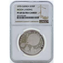 1970 Guinea 250 Francs Moon Landing Proof Silver Coin NGC PF69 Ultra Cameo