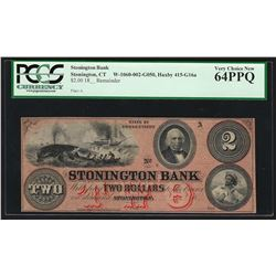 1800's $2 Stonington Bank Obsolete Note PCGS Very Choice New 64PPQ