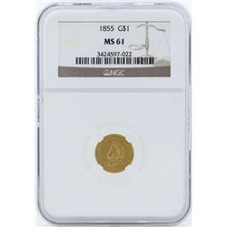 1855 $1 Gold Dollar Type 2 Coin NGC MS61