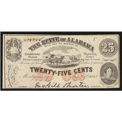 1863 25 Cent The State of Alabama Obsolete Note