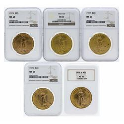 Lot of (5) Assorted $20 St. Gaudens Double Eagle Gold Coins PCGS MS63