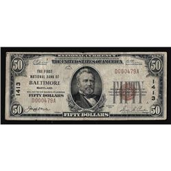 1929 $50 The First National Bank of Baltimore, MD Currency Note