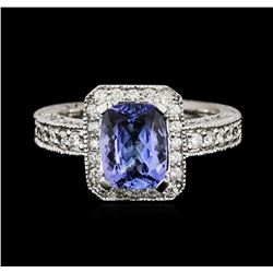 14KT White Gold 1.54ct Tanzanite and Diamond Ring