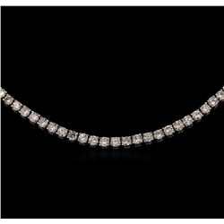 18K White Gold 21.00ctw Diamond Tennis Necklace