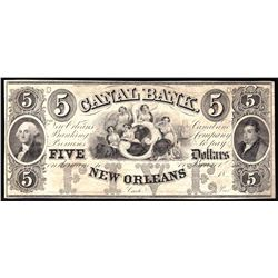 1800s $5 Canal Bank of New Orleans Obsolete Bank Note