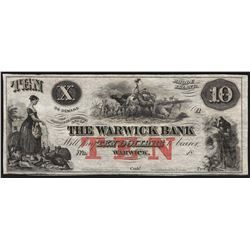 1800's $10 The Warwick Bank Obsolete Bank Note