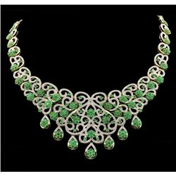 SILVER 25.23ctw Emerald and Diamond Necklace