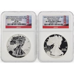 (2) 2012 $1 American Silver Eagle Coins NGC PF70 and PF70 Ultra Cameo