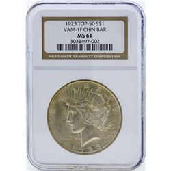 1923 $1 Peace Silver Dollar Coin VAM-1F Chin Bar NGC MS61