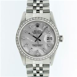 Rolex Mens Stainless Steel 1.00ctw Diamond Datejust Wristwatch