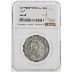 VS2025(1968) Nepal 10 Rupees Silver Coin NGC MS64