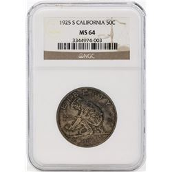 1925-S California Diamond Jubilee Commemorative Half Dollar Coin NGC MS64
