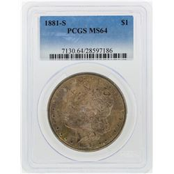 1881-S $1 Morgan Silver Dollar PCGS Graded MS64
