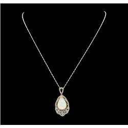 14KT Yellow Gold 8.38ct Opal and Diamond Pendant with Chain