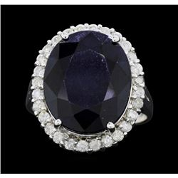 14KT White Gold 11.49ct Sapphire and Diamond Ring