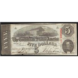 1863 $5 The Confederate States of America Note