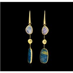 14KT Yellow Gold Blue and White Gemstone Dangle Earrings