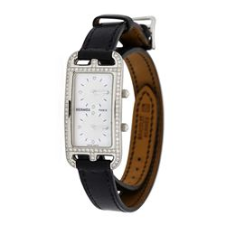 Hermes Ladies Stainless Steel and Diamond Cape Cod Dual Zone Wristwatch