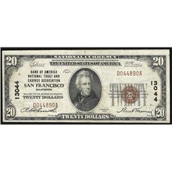1929 $20 Bank of America San Francisco National Currency Note