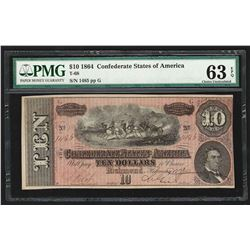1864 $10 The Confederate States of America Note T-68 PMG Choice Uncirculated 63E