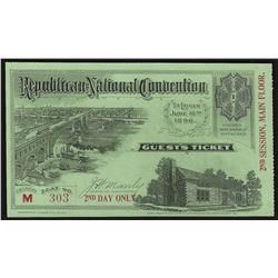 June 16th 1896 Republican National Convention St. Louis Ticket