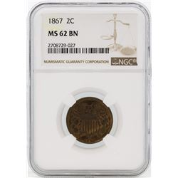 1867 Two Cent Piece Coin NGC MS62 BN