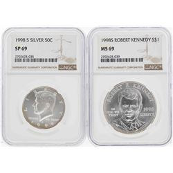 1998-S Kennedy Half Dollar NGC SP69 & 1998-S $1 Kennedy Silver Dollar NGC MS69