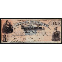 1862 $1 The State of Mississippi Obsolete Bank Note