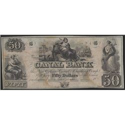 1800's $50 Canal Bank of New Orleans Obsolete Bank Note