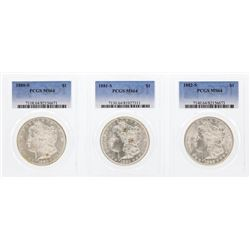 1880-S to 1882-S $1 Morgan Silver Dollar Coins PCGS MS64