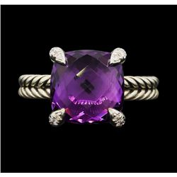 "David Yurman .925 Silver ""Chatelaine"" 5.00ct Amethyst and Diamond Ring"