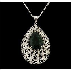 14KT White Gold 9.07ct Emerald and Diamond Pendant with Chain