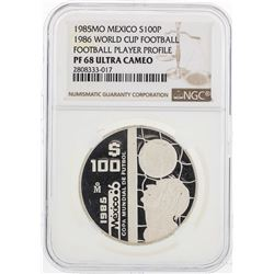 1985MO Mexico 100 Pesos World Cup Commemorative Silver Coin NGC PF68 Ultra Cameo