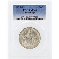 1935-S San Diego Commemorative Half Dollar Coin PCGS MS66