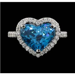 18KT White Gold 7.64ct Blue Zircon and Diamond Ring
