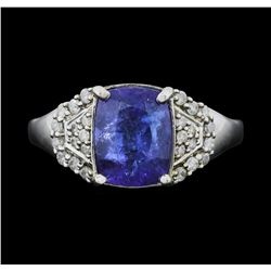 14KT White Gold 2.61ct GIA Cert Tanzanite and Diamond Ring