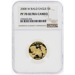 2008-W $5 Bald Eagle Commemorative Gold Coin NGC PF70 Ultra Cameo
