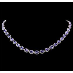 14KT White Gold 19.85ctw Tanzanite and Diamond Necklace