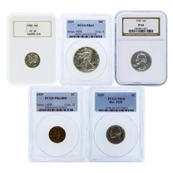1939 (5) Coin Proof Set Graded