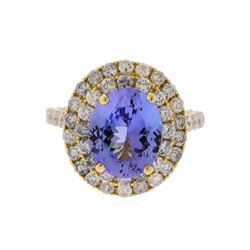 14KT Yellow Gold 3.63ct Tanzanite and Diamond Ring