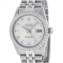 Rolex Stainless Steel 1.00ctw Diamond Datejust Mens Wristwatch