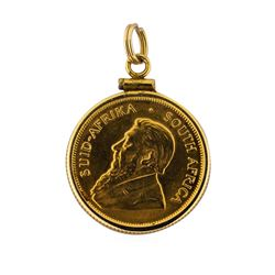 14K Pendant with 1981 1/4 oz Gold Krugerrand Coin