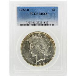 1922-D $1 Peace Silver Dollar Coin PCGS Graded MS65