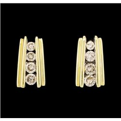14KT Yellow Gold 0.40ctw Diamond Bar-Style Earrings