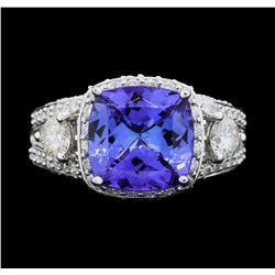 14KT White Gold 3.57ct Tanzanite and Diamond Ring